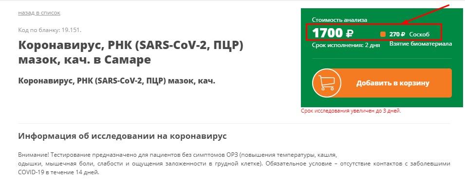 Стоимость теста на коронавирус в Самаре, Гемотест